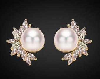 "PAIR GOLD Leaf Floral Pearl Crystal Bridal Wedding Tunnels Gauges Plugs Earrings 0g 00g 7/16"" 1/2"" 9/16"" 5/8"" 11/16"" 8mm 9mm 11mm 12mm"