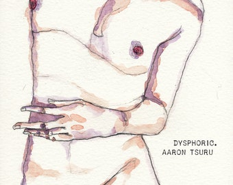 """dysphoric - watercolor & illustration 5in x 8.25"""" - Framed"""