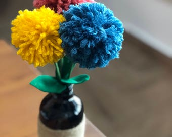 Pom Pom Flowers Jar Arrangement