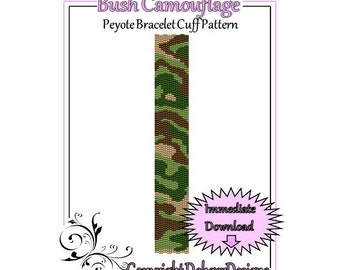 Bead Pattern Peyote(Bracelet Cuff)-Bush Camouflage