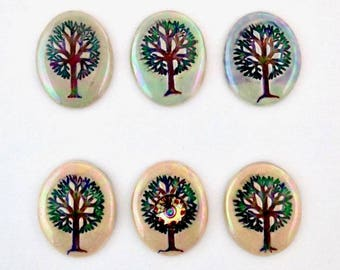 Tree of Life cabochon, 6 different designs in green, tan or blue, hand painted fine porcelain, Swarovski crystal accented component.