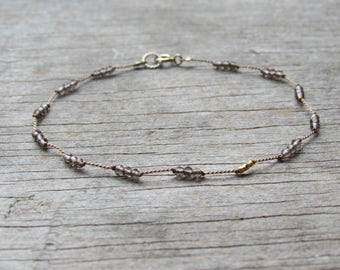 tiniest SMOKEY QUARTZ bracelet with 24k gold nuggets hand knotted delicate gemstone  dainty layering