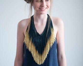 Black and Gold Elegant Necklace, Long Fringe Necklace, Fringe Statement Necklace, Hand Dyed Ombre Fringe