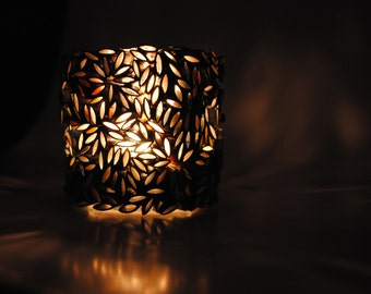candle holder- made with recycled magazines, tea lights, candle, fall, gift, home decor, glass votive