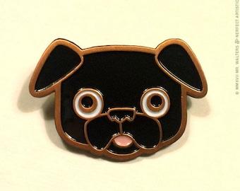 Buddy the Black Pug Deluxe Enamel Pin