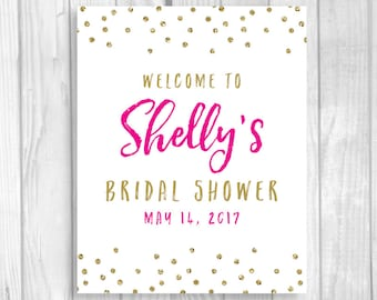 SALE Custom Personalized Bridal Shower Welcome Sign - Hot Pink and Gold Glitter Polka Dots - Any Size - Features BRIDE-to-be's NAME