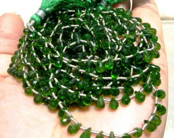 1/2 strand - 7..5 Inches Finest Quality Genuine Chrome Diopside Faceted Tear Drop Briolettes Size 6 - 7mm approx