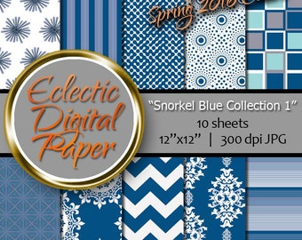 Digital Paper Snorkel Blue Collection 1, Dark Blue Digital Paper, Snorkel Blue Digital Paper Pack, Blue Digital Paper Bundle