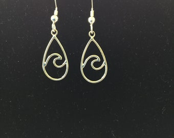 Tiny sterling silver wave earrings