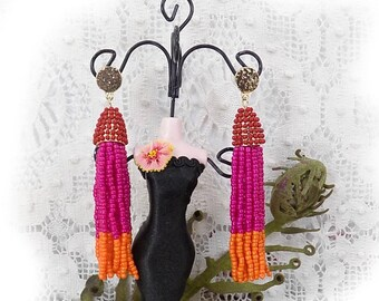 Beaded Tassel Earrings, beaded  Dangle Earrings ,beaded Statement Earrings, Tassel Drop Earrings Trendy Dangle Earrings- # J 24