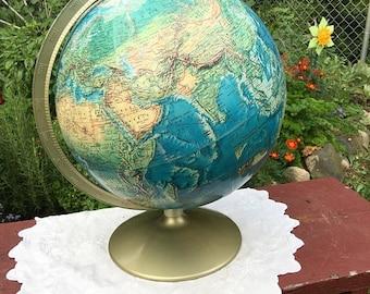 Vintage world globe, imperial globe, blue world globe