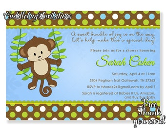 Monkey Boy Baby Shower Invitation | Little Monkey Baby Shower Invite | Jungle Baby Shower | Baby Boy Shower Invitation Printable