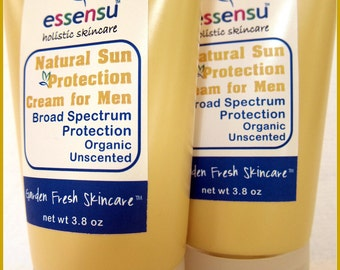 Organic Mens Zinc Oxide Natural Sun Protection Cream with Soothing Aloe Vera | UVA and UVB Protection | Non-Toxic Formula | Vegan - 3.8 oz