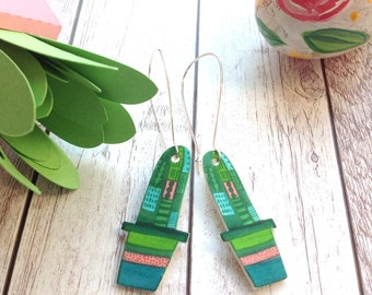 Cactus Dangle Earrings, Plant Jewellery, Succulent Lover Gift, Birthday For Her, Best Friend, Teacher Gift, Plant Lovers, Gardening, Nature.