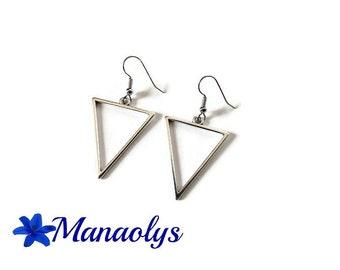 Silver triangles earrings minimalist