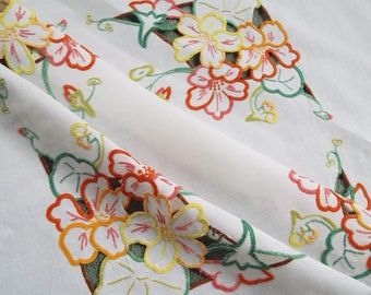 Vintage Linen Square Tablecloth. Hand Embroidered White Linen Tablecloth With Orange and Yellow Flowers And Cut Work. Perfect for tea time