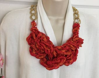 Buy1Give1 Finger Knit Fire & Sunshine Statement Chain Necklace