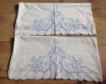 Vintage White Pillowcases with Blue Cutwork , Vintage Bedding , Pillowcases