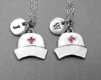 Best friend necklace, nurse necklace, nurse cap necklace, nurse hat necklace, nurse jewelry, BFF necklace, personalized, initial necklace