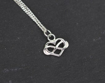 Infinity Heart Necklace, Sterling Silver Heart Necklace