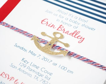 Nautical baby shower invitation, Ahoy it's a boy! Handmade invitation, Anchor invite, Bachelorette Party, Last Sail before the veil party