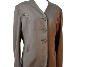 40s Jacket Ecru Wool Blazer Costume Sz M to Sz L
