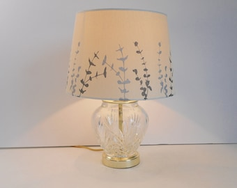 Cut Glass Lamp with Decorative Shade