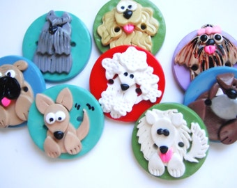 Button Pick your Pooch handmade polymer clay buttons ( 3 )