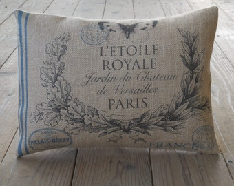 Feedsack Butterfly Burlap Pillow,  Blue Stripe, Paris Postmark, Shabby Chic4, INSERT INCLUDED