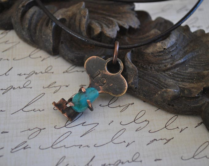 Brass key pendant with Genuine Turquoise stone necklace, rustic,  metal necklace