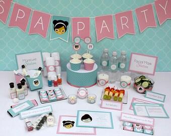 Spa Birthday Party Printable Collection & Invitation - Editable PDF file - Print at home