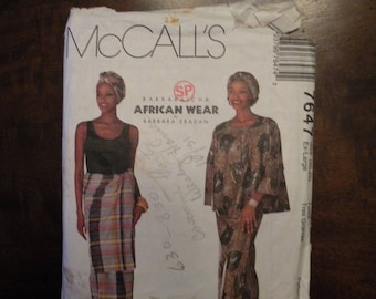 1995 Used Vintage McCall's Pattern 7647 Misses Top, Wrap Skirt, Head Wrap and Overskirt Size 20-22