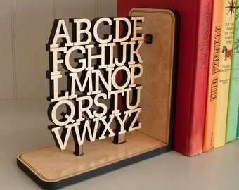 Wooden Alphabet Nursery Bookend: ABC Room Decor, Wood Letters for Baby, Kids, Typography or Teacher Gift