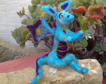 GEORGE - a friendly turquoise blue needle felt dragon bearing flowers.