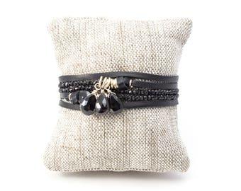 Black Garnet Necklace, Black Garnet Wrap Bracelet, Adjustable Necklace, Black Necklace, Black Bracelet, Leather Wrap Bracelet, Black Wrap