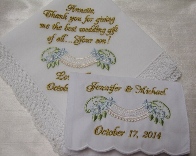 Embroidered Wedding Handkerchief w Tissue Case/Mother of the Groom/Mother of the Bride/Gifts for Mother/Personalized Hankies/Bridal Shower