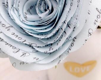 2 Year Wedding Anniversary Poem Rose I Love You Blue Flowers by Cotton Bird Designs