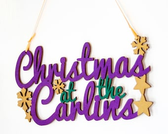 Christmas Family Name Sign, Surname Sign, Christmas at the Hanging Sign, Unique Christmas Gift, Christmas Decoration, Made to Order