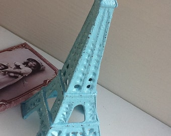 EIffel Tower Cast Iron Aqua Blue Home Decor Paris Inspired House Wares