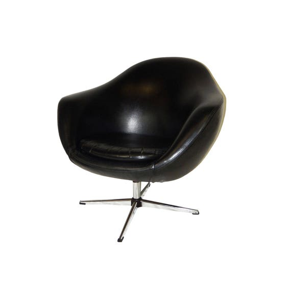 Charmant Classic Mid Century Modern Overman Black Vinyl Pod Chair