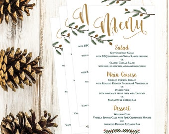 christmas holiday winter wedding party menu template modern rustic 4x8 editable printable menu card diy pdf instant download menu card