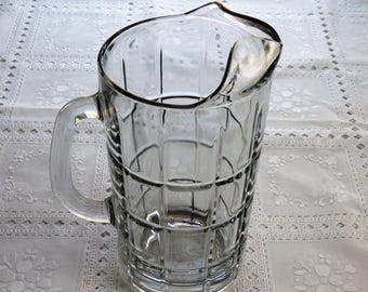 Clear Glass Pitcher, Vintage Anchor Hocking Pitcher, Tartan Plaid Pattern, Water/Tea/Lemonade/Juice Pitcher