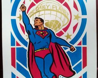 Superman Pop Art Deco hand-pulled silkscreen print
