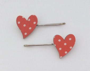Wooden fabric polka dot heart hair grips, clips , bobby pins.