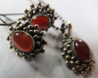 set Carnelian Sterling Silver Jewelry Set Carnelian necklace Carnelian earrings Tiny Bubbles Bohemian Necklace and Earrings Velvet Gift Box