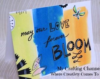 Love Bloom Watercolor Card-Printed Watercolor-Card--Greeting Card-Handmade Card-Watercolor-Love