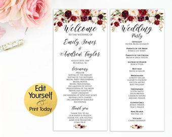 Wedding Program Template, Wedding Programs, Marsala Wedding Program, Editable Program, Burgundy Wedding Program, Ceremony Template, W2