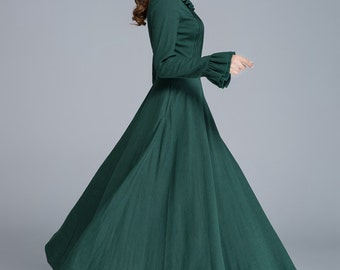 linen dress, long sleeve dress, maxi dress, spring dress, pleated dress, elegant dress, prom dress, fit and flare dress, ladies dresses1651