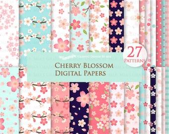 Cherry Blossom, Cherry Blossom Flower, Sakura, Sakura Flower, Spring Flower Digital Paper Pack - Instant Download - DP084