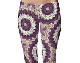 Leggings for Women With Designs, Yoga Pants, Beige Leggings, Mandala Pattern Printed Leggings
